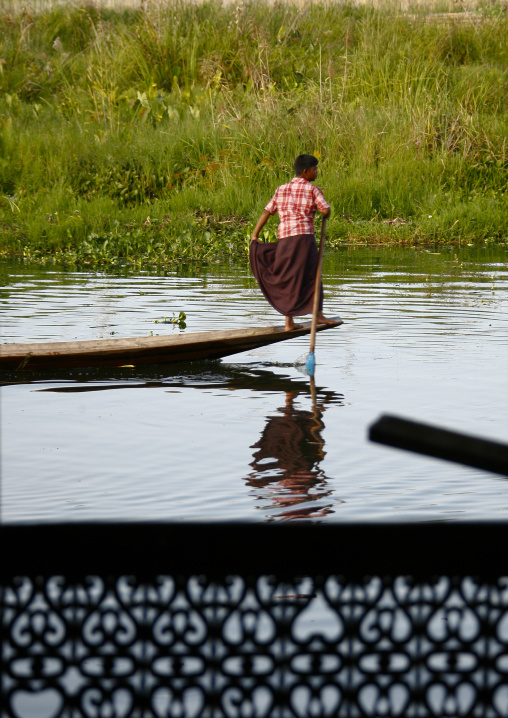 Man Rowing A Boat, Inle Lake, Myanmar