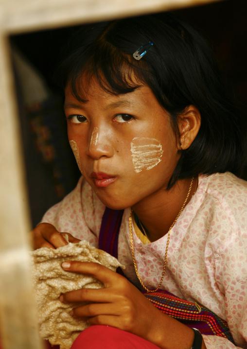 Girl With Thanaka On The Cheeks, Taunggyi, Myanmar