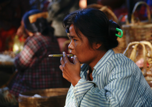 Smoking woman in bagan, Myanmar
