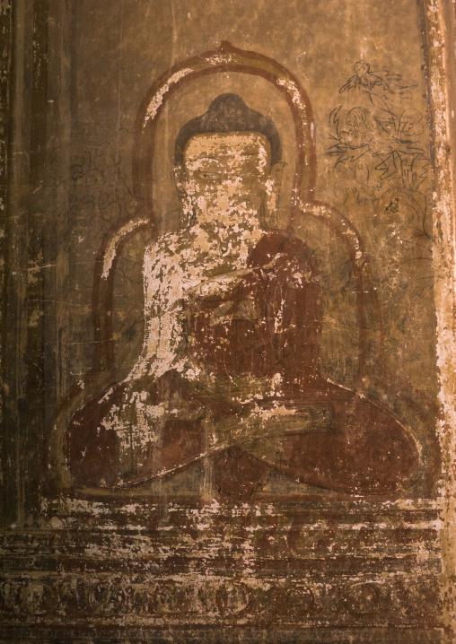 Buddha image fresco inside a temple, Bagan, Myanmar