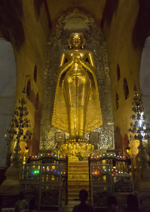 Golden buddha inside ananda paya, Bagan, Myanmar