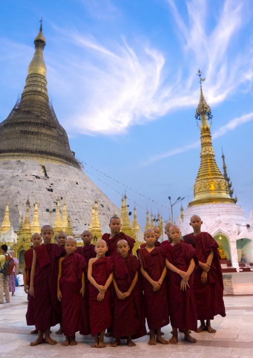 Novices in shwedagon pagoda, Yangon, Myanmar