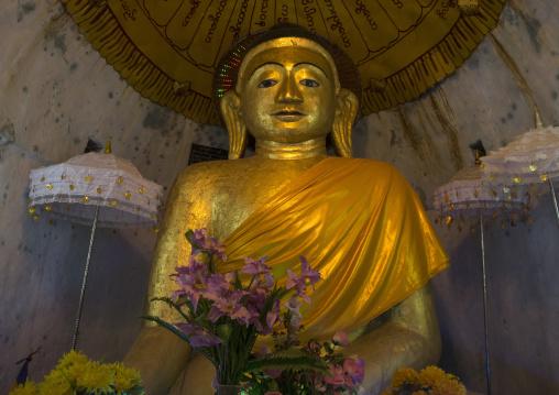 Golden buddha statue in zina manaung pagoda, Mrauk u, Myanmar