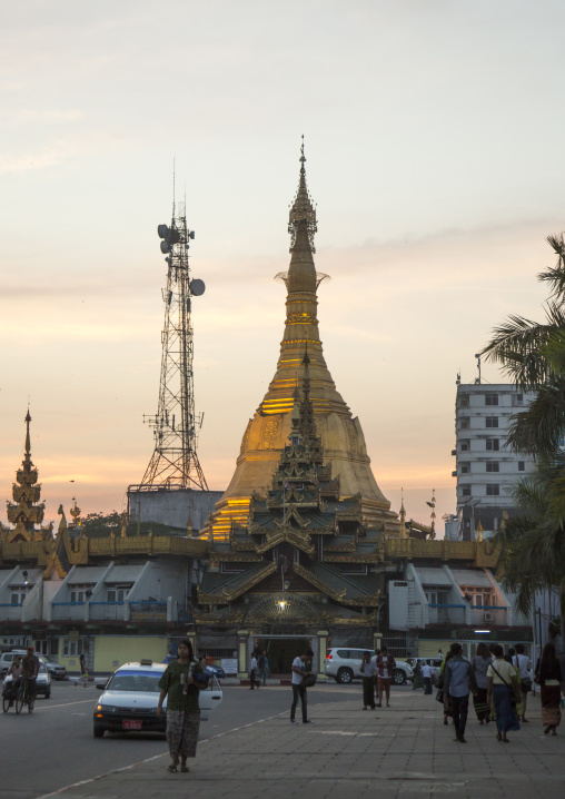 Stupa and mobile phone antenna, Yangon, Myanmar
