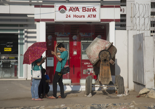 An aya bank atm machine, Yangon, Myanmar