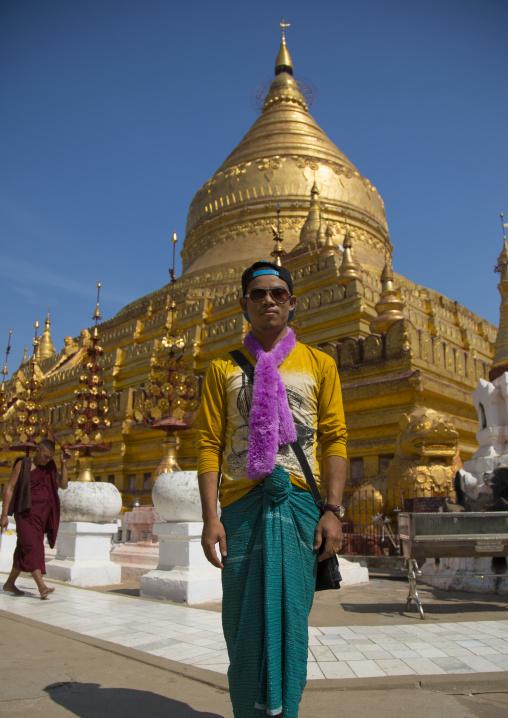 Burmese Tourist In Shwe Zigon Paya Golden Temple, Bagan, Myanmar