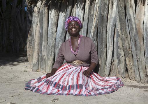 Ovambo Woman With Traditionnal Clothing, Ondangwa, Namibia