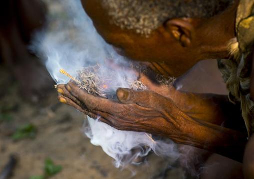 Bushmen Making Fire, Tsumkwe, Namibia
