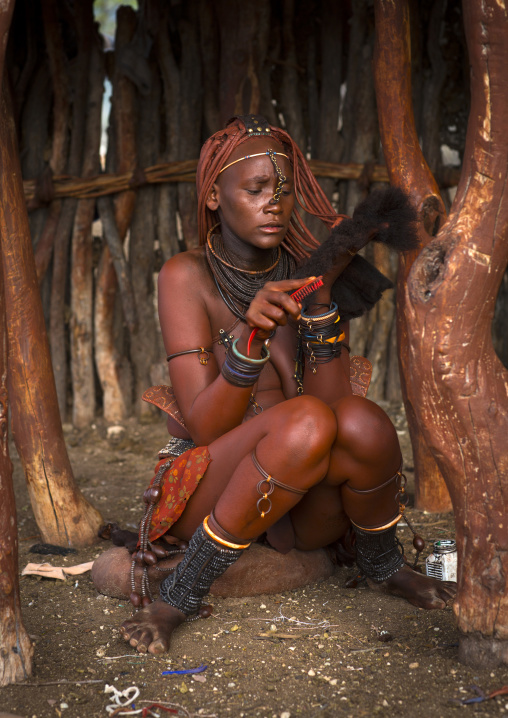 Himba Woman Taking Care Of Her Hair, Epupa, Namibia