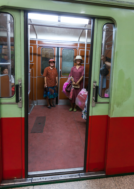 North Korean women in a subway car, Pyongan Province, Pyongyang, North Korea