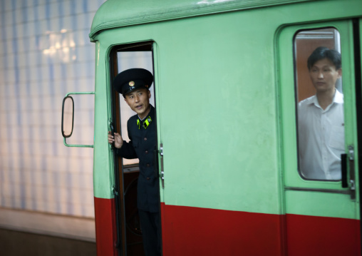 Metro driver in a wagoon, Pyongan Province, Pyongyang, North Korea