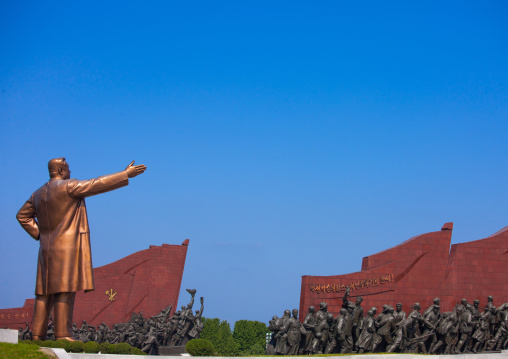 Kim Il-sung giant statue and worker's Party flags in Mansudae Grand monument, Pyongan Province, Pyongyang, North Korea