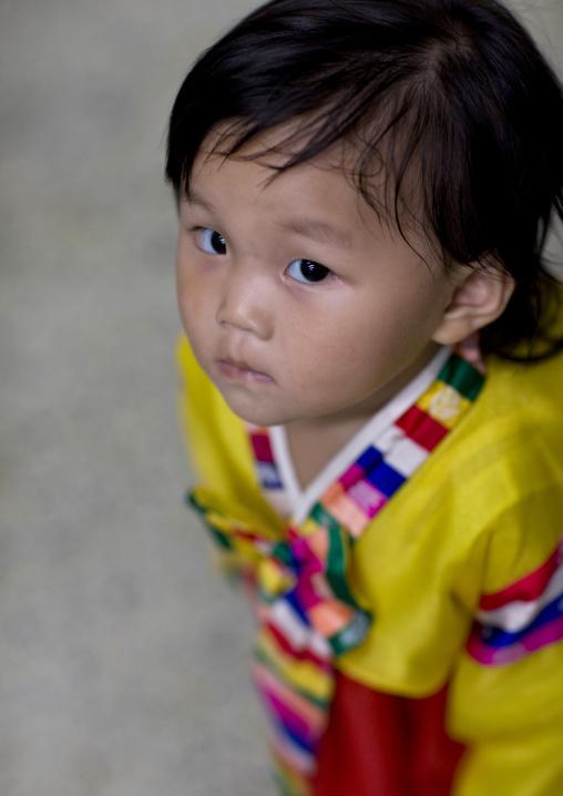 North Korean girl in traditional choson-ot, Pyongan Province, Pyongyang, North Korea