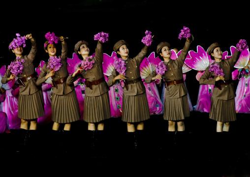 North Korean women dressed as soldiers during the Arirang games in may day stadium, Pyongan Province, Pyongyang, North Korea