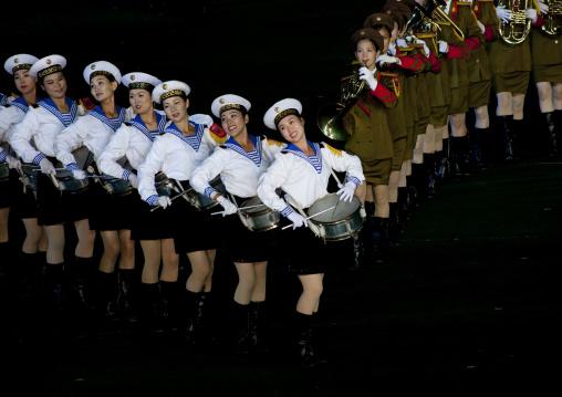 Sexy North Korean women dressed as sailors during the Arirang mass games in may day stadium, Pyongan Province, Pyongyang, North Korea