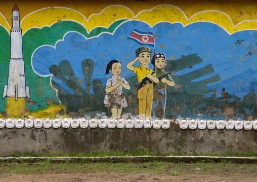 Patriotic and military billboard in a school, North Hwanghae Province, Sariwon, North Korea