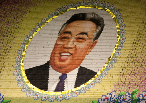 Kim il Sung portrait made by children pixels holding up colored boards during Arirang mass games in may day stadium, Pyongan Province, Pyongyang, North Korea