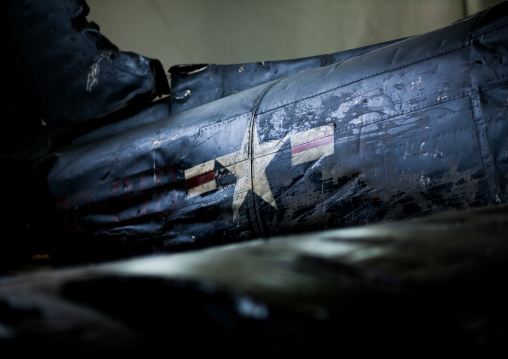 Star on american war plane fuselage in the victorious fatherland liberation war museum, Pyongan Province, Pyongyang, North Korea