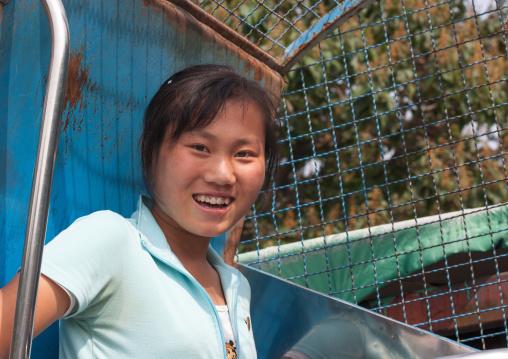 North Korean girl in an old attraction in Taesongsan funfair, Pyongan Province, Pyongyang, North Korea