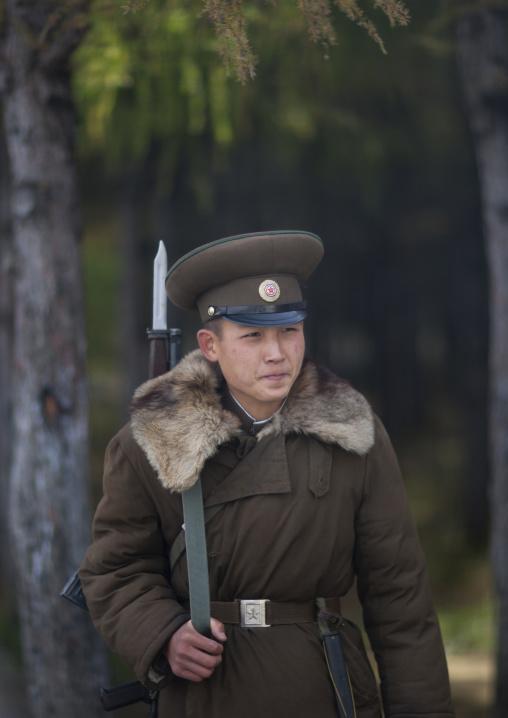 Portrait of a North Korean solider with fur at mount Paektu, Ryanggang Province, Samjiyon, North Korea