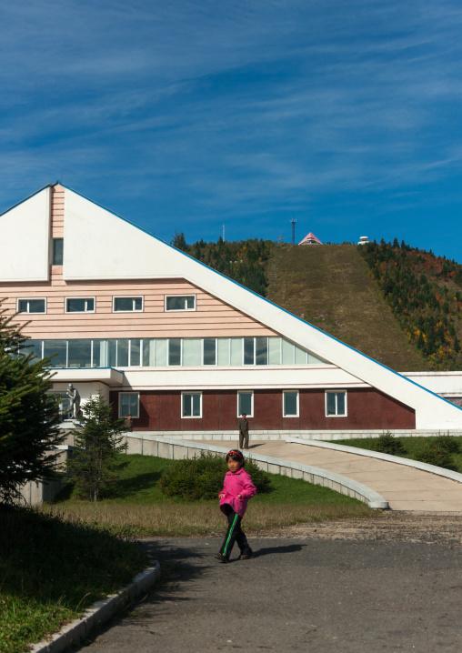 Sport building in front of the skiing slope, Ryanggang Province, Samjiyon, North Korea