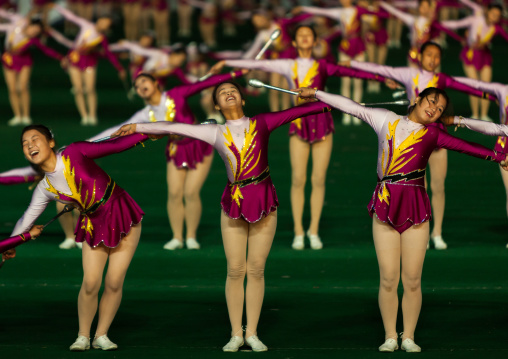 North Korean gymnasts performing during the Arirang mass games in may day stadium, Pyongan Province, Pyongyang, North Korea