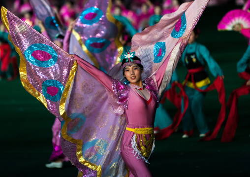 North Korean dancer with butterfly wings during Arirang mass games in may day stadium, Pyongan Province, Pyongyang, North Korea