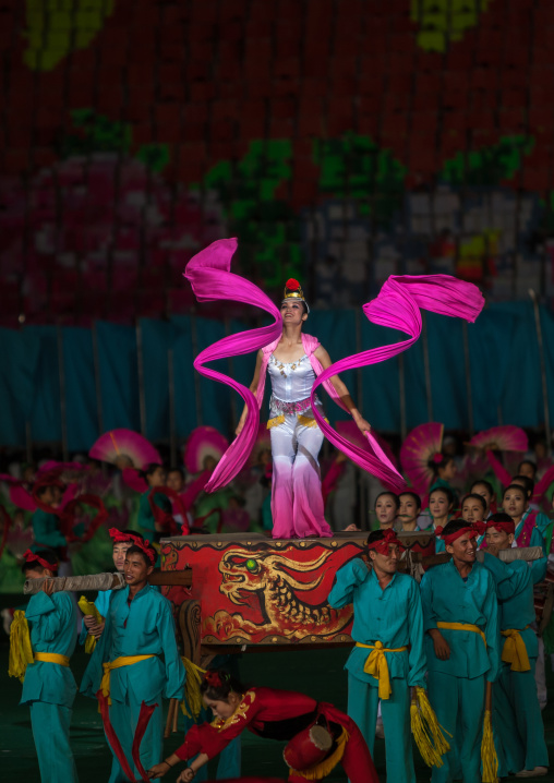 North Korean women dancing with ribbons during the Arirang mass games in may day stadium, Pyongan Province, Pyongyang, North Korea