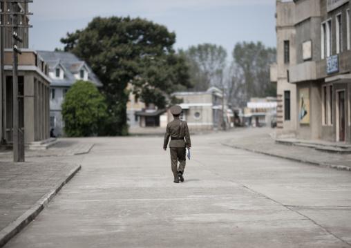 North Korean soldier walking in Pyongyang film studio, Pyongan Province, Pyongyang, North Korea