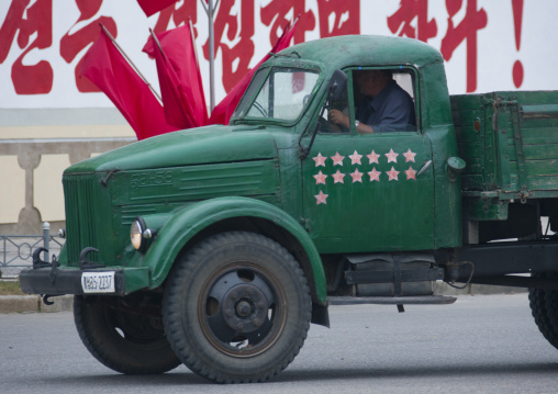 North Korean truck with red stars one star represents 50000 km of safe driving, North Hwanghae Province, Kaesong, North Korea