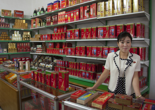 North Korean woman selling ginseng in a shop, North Hwanghae Province, Kaesong, North Korea