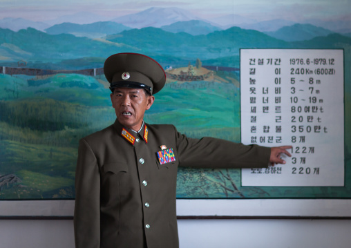 North Korean military officer in the section wall of the Demilitarized Zone, North Hwanghae Province, Panmunjom, North Korea