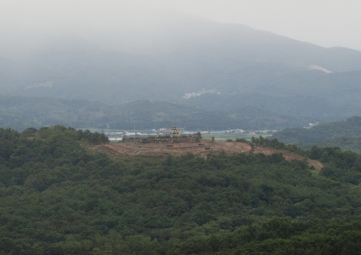 View of south Korea from the wall section of the Demilitarized Zone, North Hwanghae Province, Panmunjom, North Korea