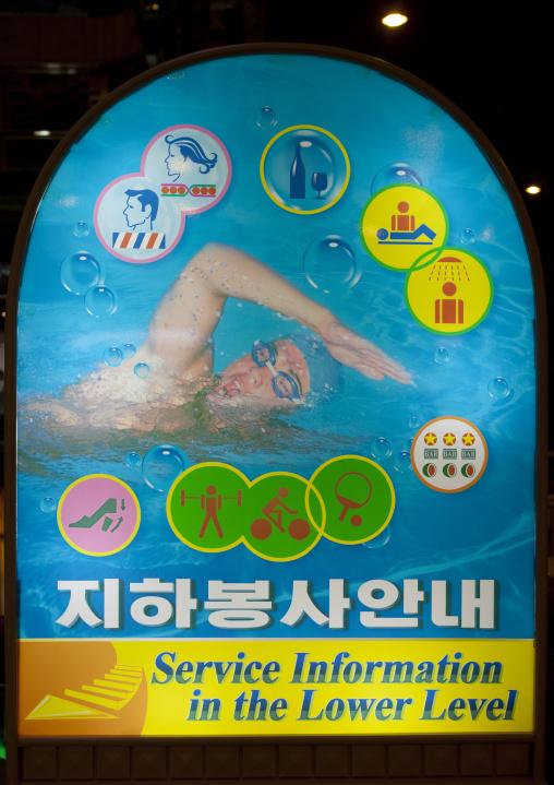 Billboard depicting the services available at Koryo hotel, Pyongan Province, Pyongyang, North Korea