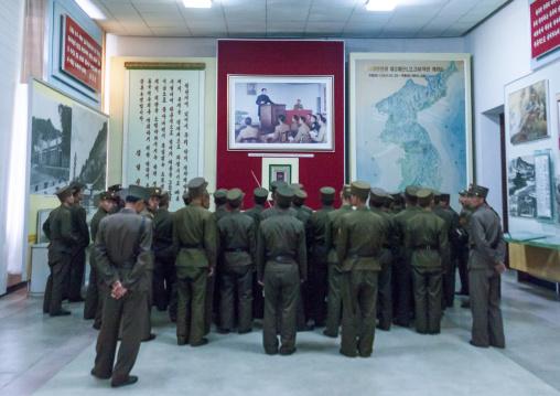 North Korean soldiers visiting the victorious fatherland liberation war museum, Pyongan Province, Pyongyang, North Korea