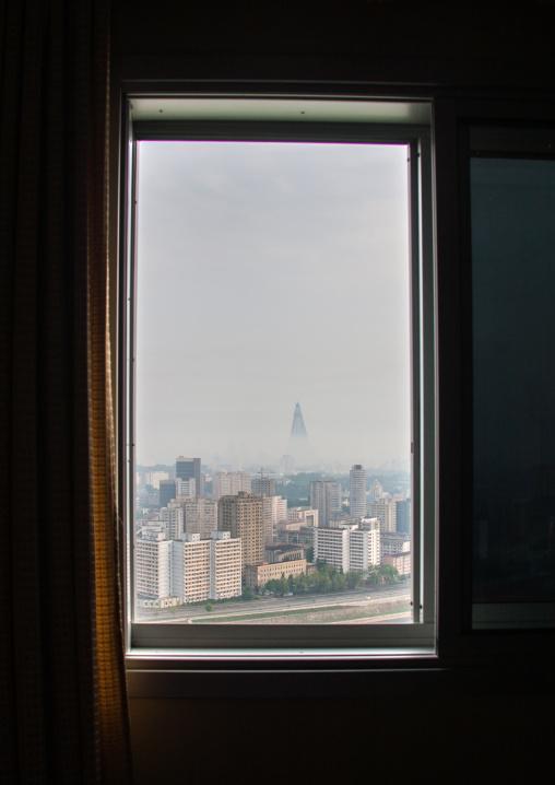 Looking through a window toward the city, Pyongan Province, Pyongyang, North Korea