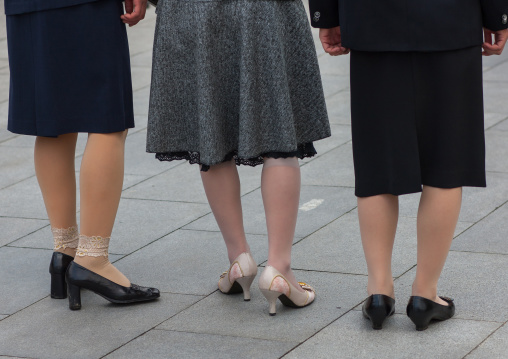 Rear view of North Korean women legs and shoes, Pyongan Province, Pyongyang, North Korea