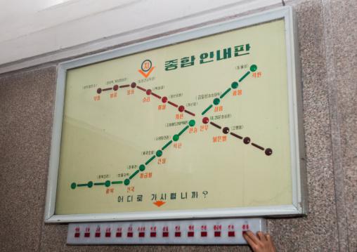 Electronic board of the metro lines, Pyongan Province, Pyongyang, North Korea