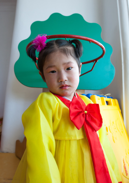 North Korean girl dressed in choson-ot in an orphanage, South Pyongan Province, Nampo, North Korea