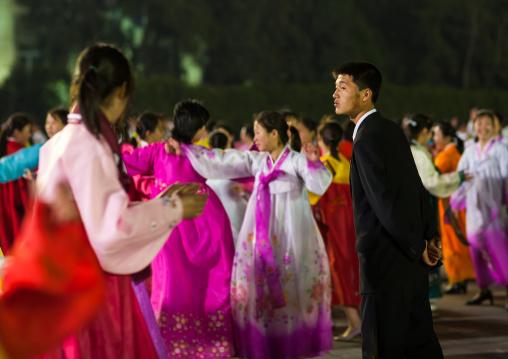 North Korean students dancing to celebrate april 15 the birth anniversary of Kim Il-sung, Pyongan Province, Pyongyang, North Korea