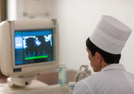 Monitor computer in hospital, Pyongan Province, Pyongyang, North Korea