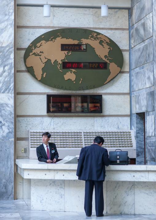 Reception in hyangsan hotel, Hyangsan county, Mount Myohyang, North Korea