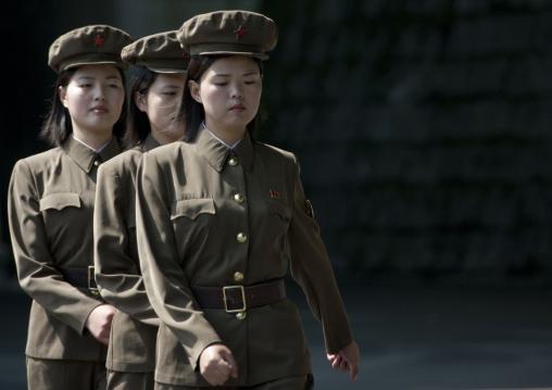 North Korean female soldiers marching in line, North Pyongan Province, Myohyang-san, North Korea
