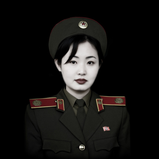 North Korean guide from the victorious fatherland liberation war museum called miss Kim, Pyongan Province, Pyongyang, North Korea