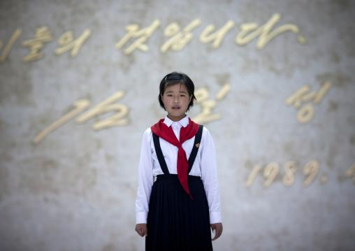 North Korean pioneer girl in the Mangyongdae children's palace, Pyongan Province, Pyongyang, North Korea