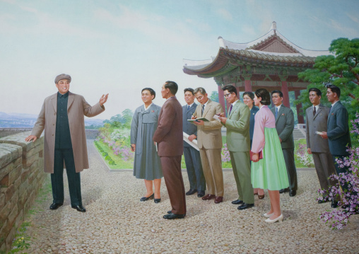 North Korean mosaic fresco depicting Kim il Sung giving advices to people during a visit, Pyongan Province, Pyongyang, North Korea