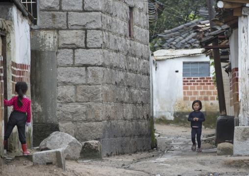 North Korean children in the old quarter, North Hwanghae Province, Kaesong, North Korea