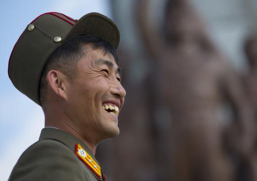 Portrait of a smiling North Korean soldier, Pyongan Province, Pyongyang, North Korea