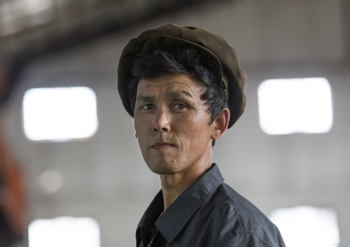 North Korean worker at Hungnam nitrogen fertilizer plant, South Hamgyong Province, Hamhung, North Korea