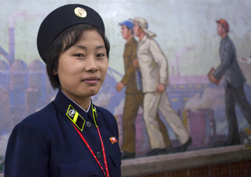 North Korean subway employee, Pyongan Province, Pyongyang, North Korea